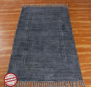 Handmade Block Printed 5x8 Cotton Dhurie  Area Rug New Antique Look Home Carpet