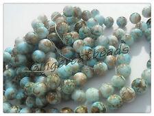 25 x Mottled Stone Effect Glass Beads - 10mm - Blue