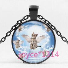 Vintage Angel Cat Cabochon black Glass Chain Pendant Necklace HS-5705