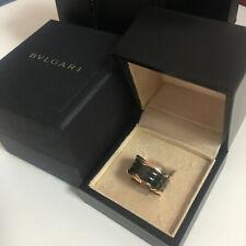 BVLGARI  18k Rose Gold Black Ceramic Spiral Ring7#