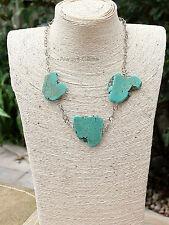 Large Turquoise Howlite Three Freeform Slab Nugget stones necklace handmade new