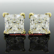 Genuine Real Solid 9ct Yellow Gold Princess Cut Stud Earrings Simulated Diamonds