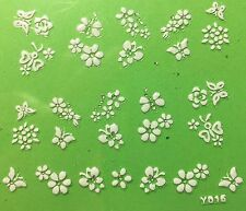Nail Art 3D Decal Stickers White Butterflies & Flowers Y016