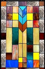 "26"" STAINED GLASS WINDOW PANEL MISSION DESIGNER COLLECTION"