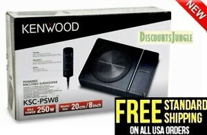 """Kenwood KSC-PSW8 250 Watts 8"""" Under Seat Compact Powered Subwoofer 019048223517"""