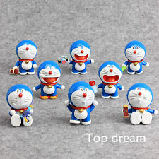 8pcs Anime Doraemon PVC Action Figure Playset Cute Cake Toppers Model Toy Gift