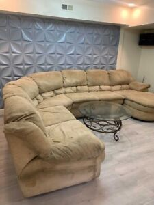 used living room microfiber furniture set with recliner and center table