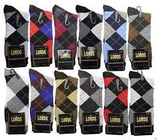 12 Pairs/1 Dozen LORDS Men Argyle Diamond Dress Socks Multi Color Size 10-13