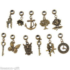 30 Mixed Bronze Tone Dangle Beads Fit Charm Bracelet