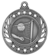 Silver Volleyball Medal w/ FREE Ribbon-Low Ship #XM101