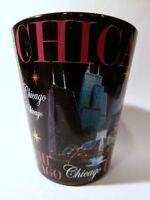 CHICAGO ILLINOIS BLACK & PINK LANDMARKS SHOT GLASS SHOTGLASS