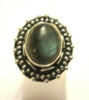 925 Sterling Silver Natural Firy Labradorite Ring Size L, US 5.75 (rg2097)