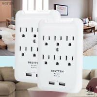 BESTTEN 6 Outlet Surge Protector Wall Adapter w/ Dual USB Charging Ports ETL