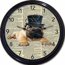 Steampunk Pug Dog Dictionary Wall Clock Victorian Gothic Goth Vintage Monocle