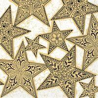 Serviette Gitte in Gold-Schwarz aus Tissue 33 x 33 cm, 100 Stück Weihnachten
