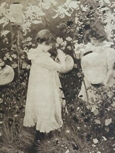 ANTIQUE PRINT 1901 CARNATION, LILY, LILY, ROSE BY JOHN S SARGENT CHILDREN ART