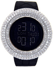KING MASTER MENS 25.00CT LAB MADE STONES LARGE CASE FACE JOJO RUBBER DIGITAL
