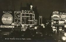 Postcard Piccadilly Circus at Night London England RPPC Coke Guinness RF-54 1960