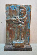 Original Old Antique Hand Carved Polychrome Wooden Musician Man Figurine