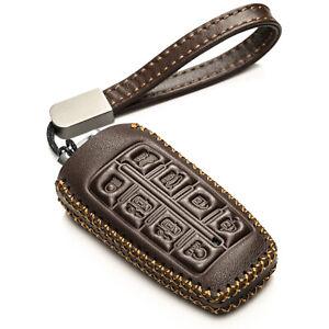 Vitodeco Leather 8-Button Smart Key Fob Case for 2022 Genesis GV70,GV80,G70,G80
