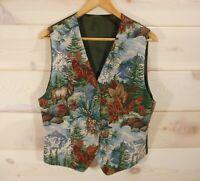 "Vintage Women's Vest Size M 38"" Bust Tapestry Satin Tie Back Mountains Elk Pine"