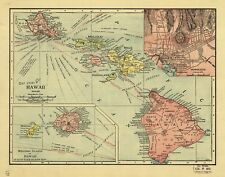 A4 Reprint of Shipping Coastal And Seas Map Hawaii Hawaiian Islands