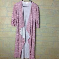 LuLaRoe Womens Size Small Pink Cardigan Shirley Long Silky Ribbed Polka Dot
