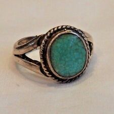 Vintage Tully Kee Native American Sterling Silver & Turquoise Ring Size 4.25
