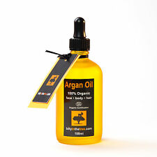 PURE ARGAN OIL 100ml.100% Organic (EcoCert Certified).Face. Body. Hair and Nails