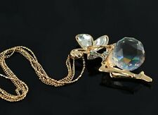 Guardian Angel Crystals Pendant Necklace Swarovski Elements Long Chain Golden