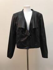 NWT Women's Cole Haan Black Leather Droped Collar Jacket Blazer XL  Hook waist