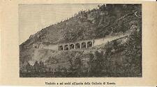 Stampa antica CUNEO viadotto ferrovia galleria di Noceto 1893 Old antique print