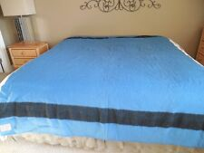 Vintage WOOL BLANKET Lodge BLUE w/ 2 STRIPES 72 x 94 Made In ENGLAND For May Co