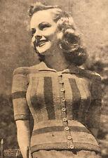 1940s Geometric Block Stripe Fitted Jacket Patons Knitting Pattern PDF Art Deco