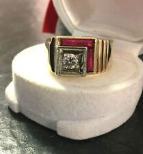 Herrenring Diamant Brillant 0,5 ct + Rubine? Baguette 585er Gold Goldring Gr.61