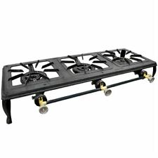 3 BURNER CAST IRON STOVE GAS COOKER CAMPING LP PROPANE