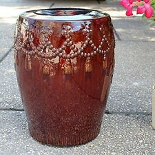 Brown Glazed Tasseled Drum Creamic Garden Stool Opg-068-Bn New