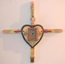 HANDMADE ASSEMBLAGE WOOD CROSS ART & DOLL EYEBALLREADY TO HANG CROSS MY HEART
