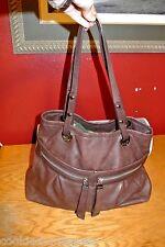 B Makowsky Extra Large Glove Leather Brown Tote Hobo Satchel Handbag Shopper WOW