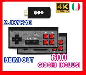 GAME CONSOLE STICK MINI VIDEOGIOCHI 4K HDMI 2 CONTROLLER JOYSTICK 600 GIOCHI HD