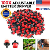 100x Adjustable Emitter Dripper Micro Drip Irrigation Sprinkler Watering System