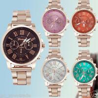 Mens Geneva Luxury Roman Number Stainless Steel Analog Quartz Dress Wrist Watch