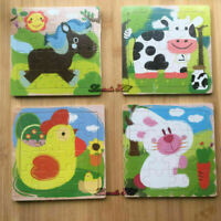 16 pcs Wooden Jigsaw Puzzles Kids Toddlers - Educational Preschool Learning