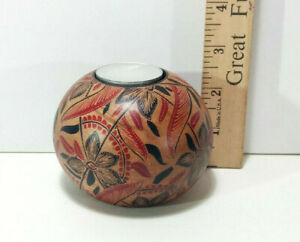 """Hard Wood Batik Candle Holder, 2.5"""" Height, Hand Crafted, Made in Bali, Natural"""