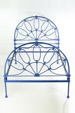 More details for antique victorian iron double bed -vintage painted cast metal bedstead headboard