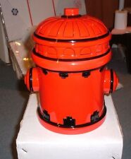 """10"""" Red and Black Fire Hydrant Themed Ceramic Cookie Jar NEW"""