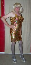 GOLD SEQUINED MINI LADIES  CROSSDRESSER DRAG QUEEN 7201150BR