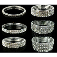 HOT Crystal Rhinestone Stretch Wristband Bracelet Bangle Elastic Wedding Bridal