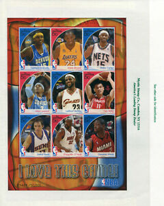 2007 Gambia Kobe Bryant LeBron James Shaquille O'Neal NBA 9 Stamps MNH