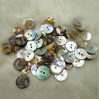 100 X Natural Mother of Pearl Round  Shell 2 Holes Sewing Buttons 10mm UK S@TH